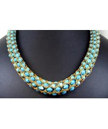 Exquisite Turquoise Crystals Hand Woven into a ... - $333.00