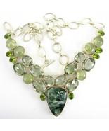Seraphinite with Green Amethyst Prehnite Sterli... - $321.00