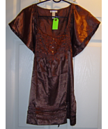 Women's Size M Brown Shimmery Pleated Top with ... - $19.99