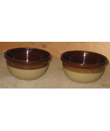 2 vintage clay brown/ivory soup bowls - $22.00