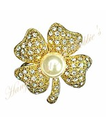 Four Leaf Clover Pin Clear Crystal Faux Pearl I... - $22.99