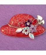 Red Hat Pin Brooch Multicolor Crystal Flowers G... - $19.99