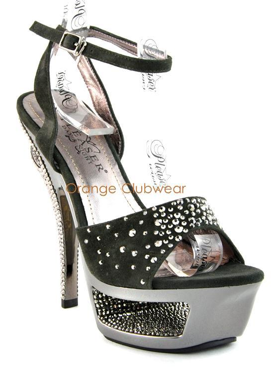 PLEASER Womens Sexy Cut Out Platform Rhinestone Couture Suede High Heels Shoes