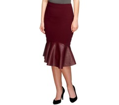 GILI Woven Skirt Fitted Trendy Faux Leather Fla... - $38.54