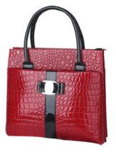 (Red) Elegant Faux Leather Crocodile Handbag - $38.68