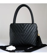 CHANEL Vintage Black CAVIAR Leather Quilted Che... - $1,248.00