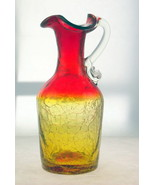 Vintage Pilgrim Amberina crackle glass pitcher ... - $22.00
