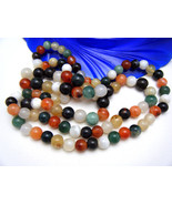 Vintage Agate Bead Necklace Colorful Variety of... - $78.26