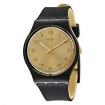 Swatch Originals Gold Dial Black-Tone Plastic R... - $48.99