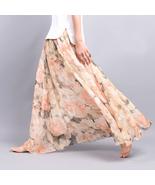Peach Peonies Floral Chiffon Maxi Skirt Long Sk... - $59.90