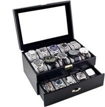 Watch Box Large 20 Mens Black Leather Display G... - $98.00