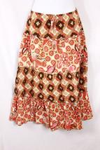 Daisy Fuentes M Skirt Orange Brown Boho Maxi Mo... - $20.32
