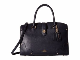 NWT COACH MERCER 30 LEATHER SATCHEL IN NAVY / L... - $366.69