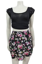 Pins and Needles Floral Skater Skirt Black comb... - $29.69