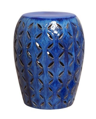 Cobalt Blue Lattice Ceramic Garden Stool Indoor Outdoor