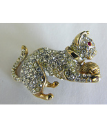 Goldtone Clear Rhinestone Cat With Ball Vintage Pin Brooch Unmarked - $19.95