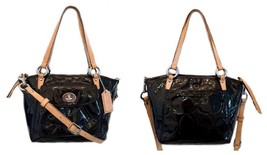 Coach Leah Black Embossed Patent Small Tote Cro... - $125.00