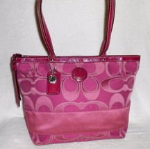 COACH PINK SIGNATURE STRIP EMBOSSED TOTE/SHOULD... - $56.99