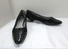 Nickels Soft Black Leather & Patent Low Heel Sh... - $29.69