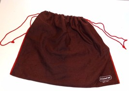 COACH Brown Red Stitched Drawstring Purse Cover... - $14.95