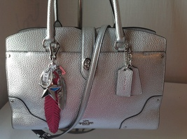 NWT Authentic Coach Silver Leather Satchel and ... - $325.00