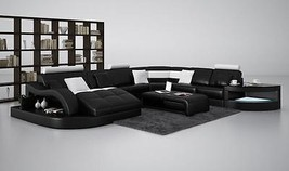 Chic Modern 6140 Black & White Bonded Leather Sectional Sofa
