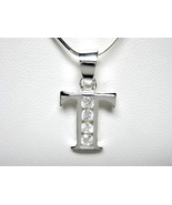 925 Sterling Silver CZ Initial Letter T Charm P... - $7.40