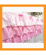 valances curtain pink ruffle cotton window trea... - $30.00