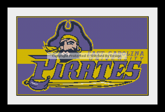 College East Carolina University Pirates Cross Stitch Pattern