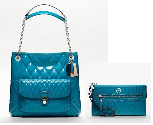 NWT COACH POPPY LIQUID GLOSS SLIM TOTE AND MATCHING ZIP WALLET (BLUE)