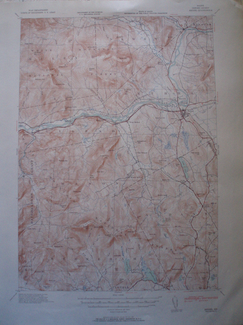 Bethel ME US Geological topography survey map 1935