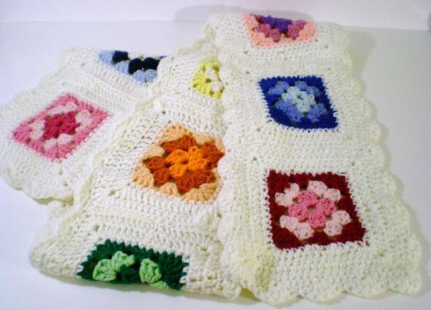 Crocheted Scarf hand made white trim multicolored squares