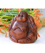 Vintage Wood Laughing Buddha Figurine Carved St... - $17.95