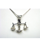 Sterling Silver Zodiac Sign LIBRA Scales Pendant - $15.00