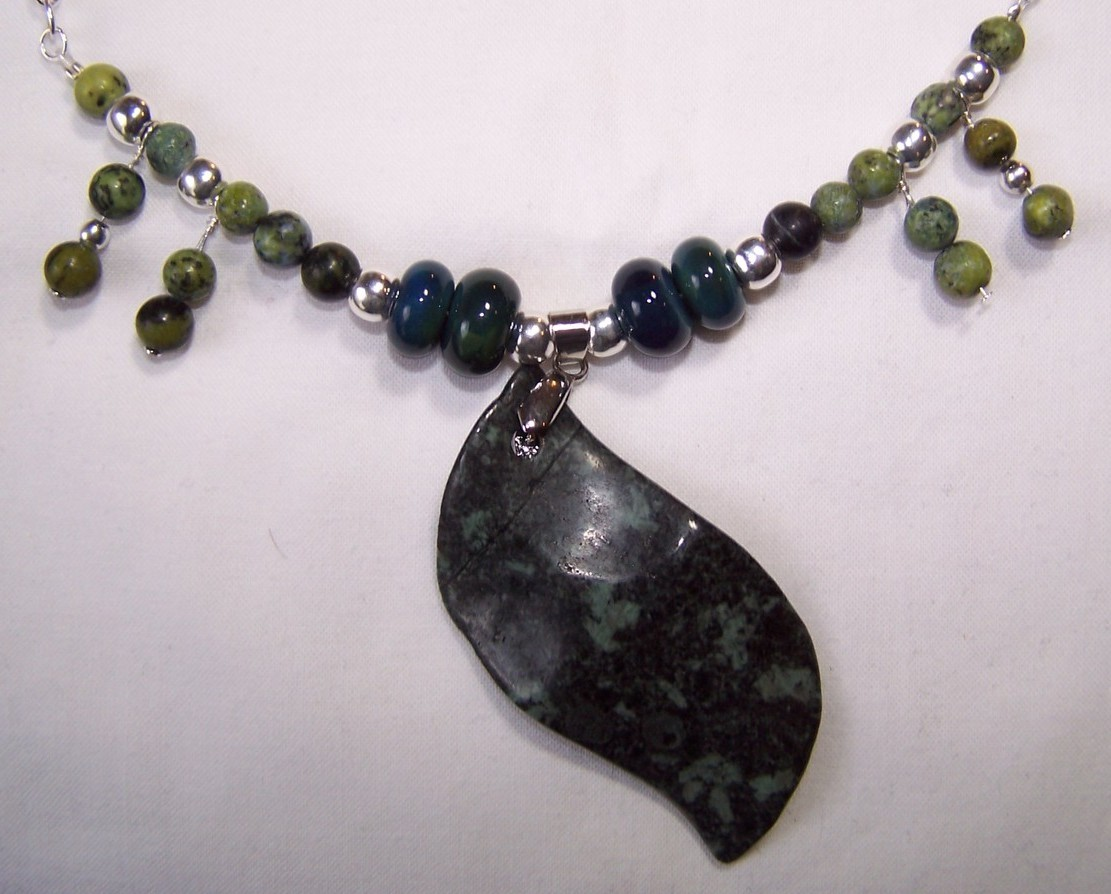 Leaf Rising Handmade Necklace, So gorgeous !!  :  necklace blue handmade jasper