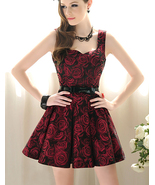 Vintage Inspired Brocade Burgundy Summer Roses Tea Dress. Summer Floral Dress