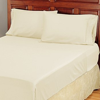 North Shore Linens 300TC Cotton Sateen Shiftly Hem  Sheet Set  Ivory Cal King