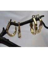 Vintage gold tone hoop earrings with post backs - $4.99