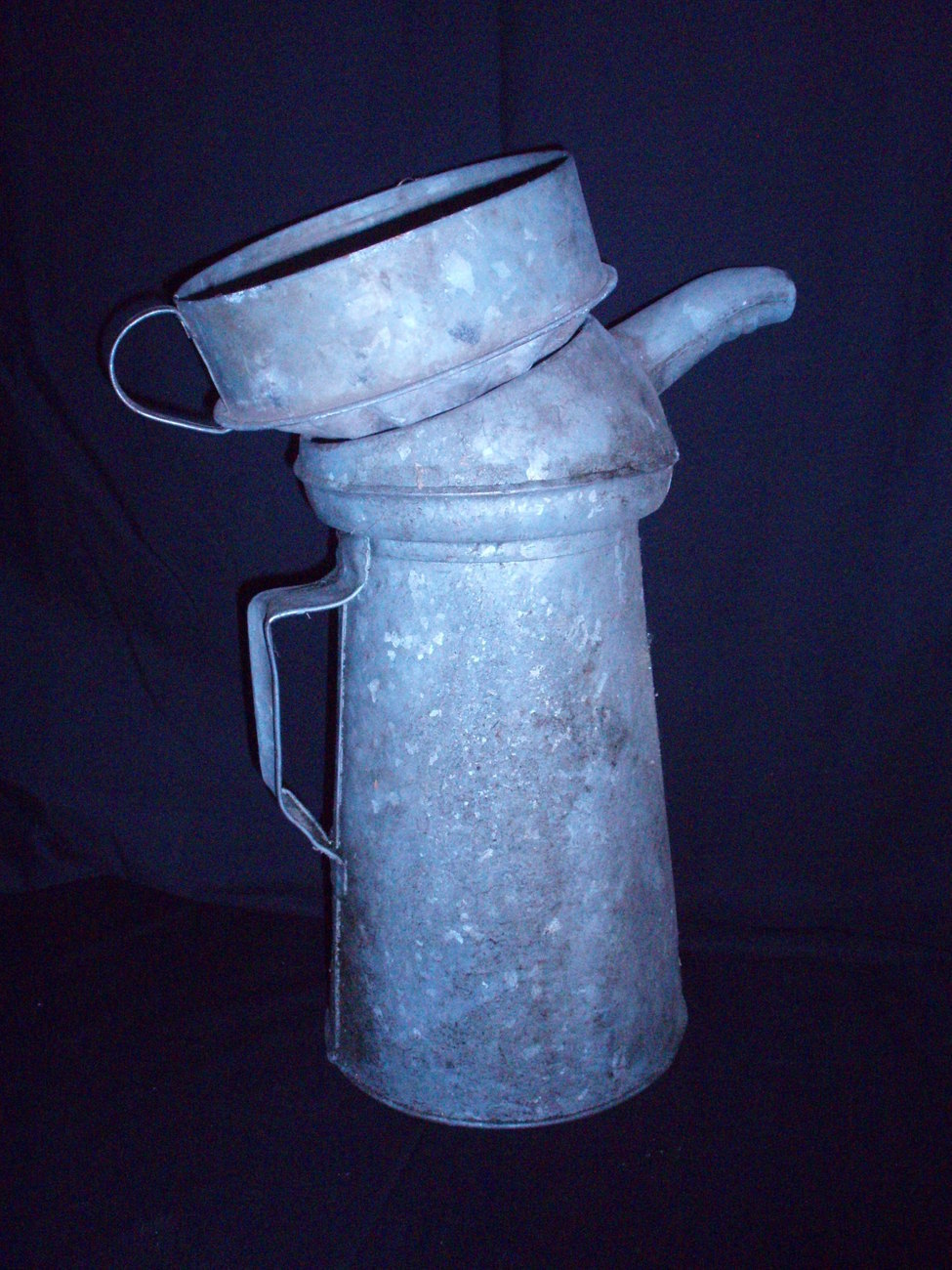 Image 1 of gas station oil pouring can and funnel vintage
