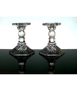 Crystal Candlesticks Heavy Diamonds and Fronds ... - $12.99