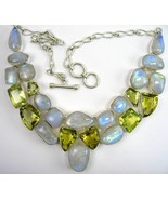 Abstract Blue Flash Moonstone and Golden Citrin... - $322.84