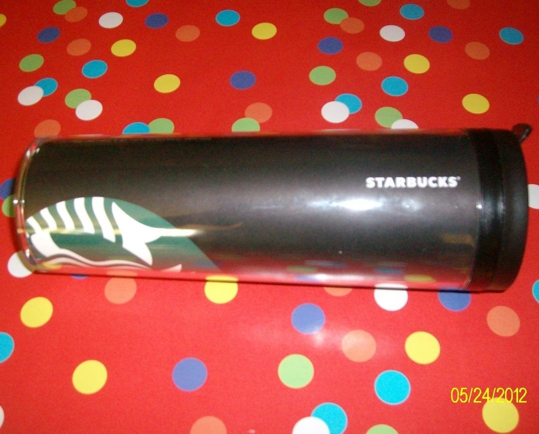 Image 1 of Starbucks Black Tumbler With Lid Mermaid Logo New