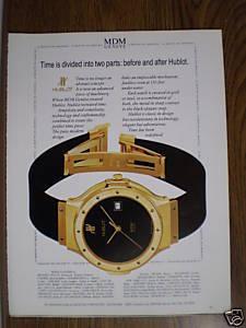 MDM Geneve Hublot Watch Magazine Print Ad 1989