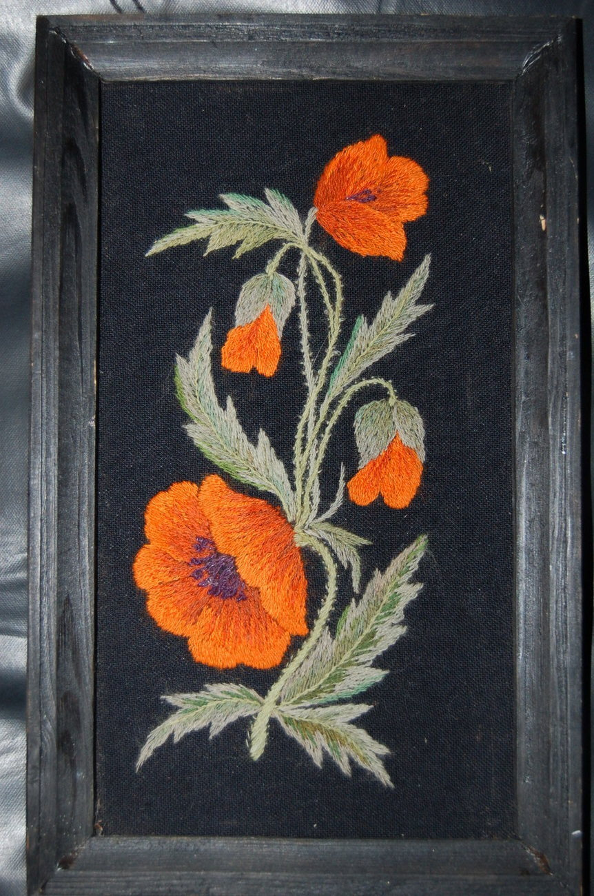 Floral Orange Flower Needlework Textile Handcrafted Picture