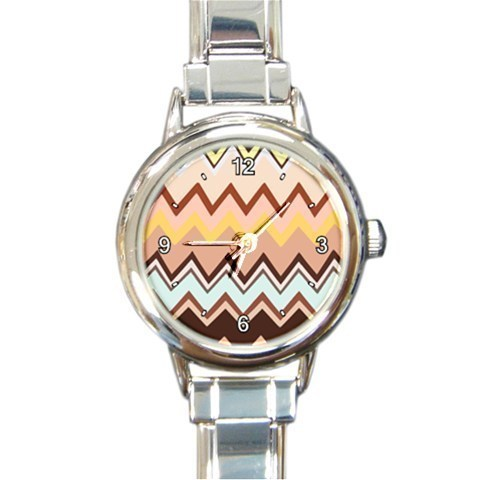 Buy charmwatches - Ladies Round Italian CharmWatch Zig Zag Stripe Brown Hip Fashion Gift 30081973