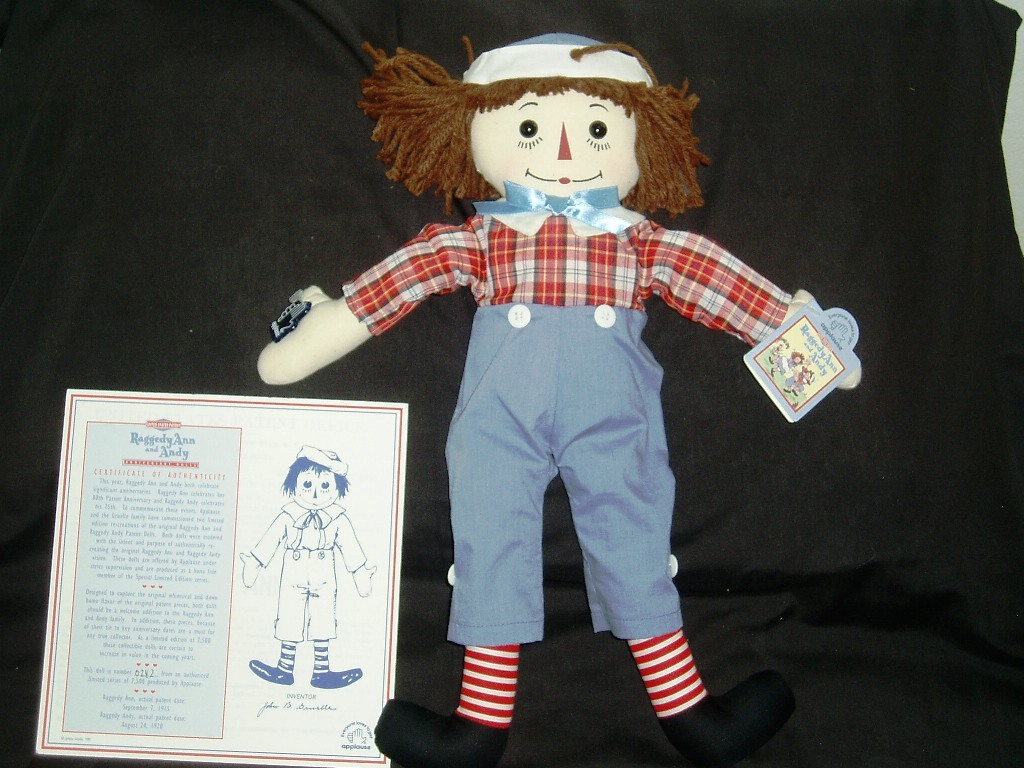 "Rare 1995 Limited Edition 18"" Raggedy Andy! No. 0242/7500 Mint In Original Box!"