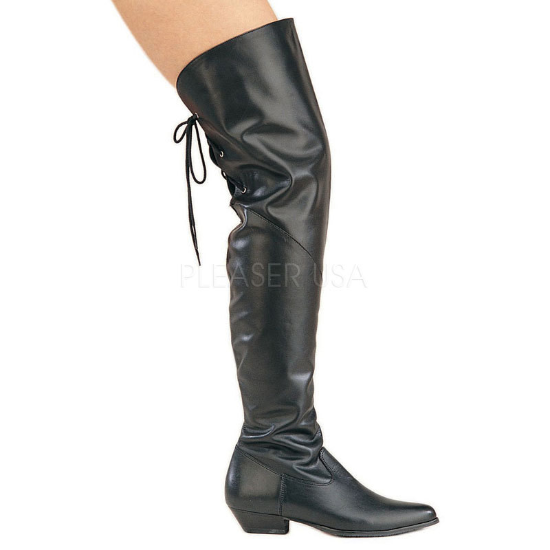 Renaissance Pirate Rodeo Leather Thigh High Boots Costume Halloween