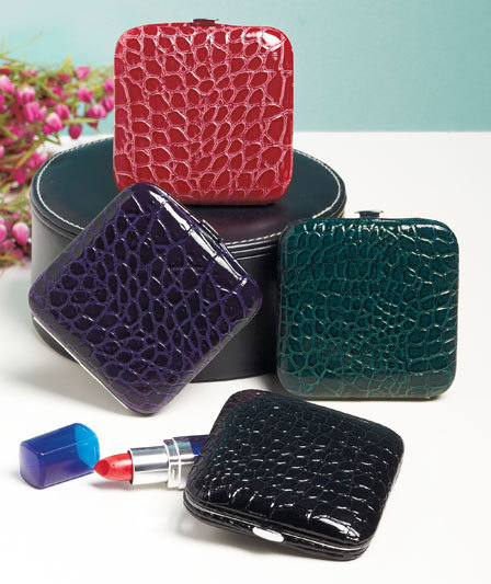 Image 1 of Croco Compact Mirrors  Teal  Two mirrors- 2 strengths
