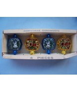 4 Plastic Vintage Ornaments w/Scenes - Original... - $5.99