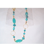 Beautiful  Gold toned and turquoise necklace - $8.50